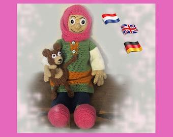 Little muslim Aïsha, Amigurumi doll crochet pattern, crocheted dolls pattern, amigurumi PDF pattern, Instant download