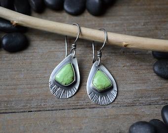Gaspeite Drop Earrings in Sterling Silver