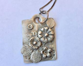 handmade sterling flower pendant necklace