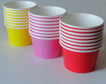 1 Set Party Cups/Bowls - Red Blue Yellow Pink - Ice Cream Cups, Dessert Bowls, Baby Shower Sprinkle, Kids Birthday, Tea Party, Unicorn Party
