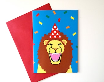 Lion Birthday card, Party Animal card, lion party hat confetti card, fun birthday party card, fun animal card, happy lion illustration card