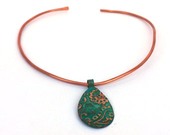 Paisley n Patina: An embossed copper necklace