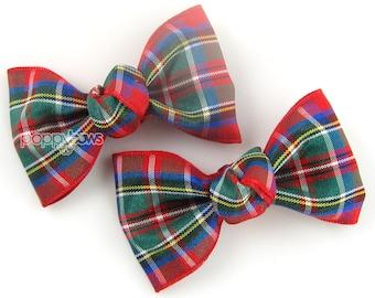 Plaid Hair Clips, Red Plaid Hair Bows, Pair Christmas Plaid Bows, Small Hair Bows, Girls Hair Barrettes, Baby Hair Bow, Royal Steward Tartan