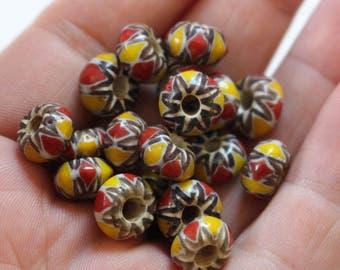 Nepal yellow glass chevron beads