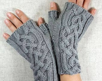 """Christmas gift for Women, fingerless gloves """"Viking"""" grey, organic wool, eco-friendly handknitted mittens, cabled arm warmers"""