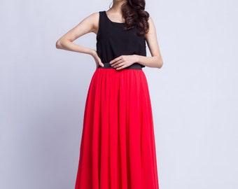 High Waist Bridal Skirt Chiffon Long Skirts Beautiful Elastic Waist Summer Skirt Floor Length Beach Skirt (101) ,4#
