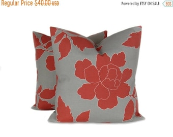 15% Off Sale OUTDOOR PILLOW COVER,Red Pillow, Red Gray Pillow,,Throw Pillow covers , outdoor decor Pillows - gray pillow - accent pillows -