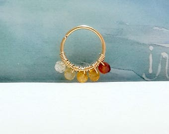 16g 18g 20g 22g Gold Natural Citrine 2 mm Helix Ring- Gold Cartilage Earring- Tiny Silver Hoop Ring- Citrine Jewelry - 7-12mm Inner Diameter