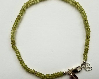 Faceted Peridot Bracelet on Silk