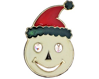 Vintage Christmas Brooch, Vintage Christmas Pin, Vintage Santa Claus Brooch, Vintage Smiley Face Santa, Santa Pendant, Christmas Necklace