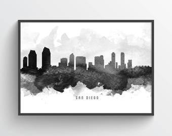 San Diego California Skyline Poster, San Diego Cityscape, San Diego Art, San Diego Decor, Home Decor, Gift Idea, USCASD11P