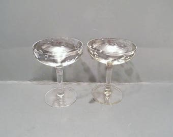 Princess House Coupe Champagne Glasses, Vintage pair of thin Crystal stemware, perfect wedding or shower celebrating glassware