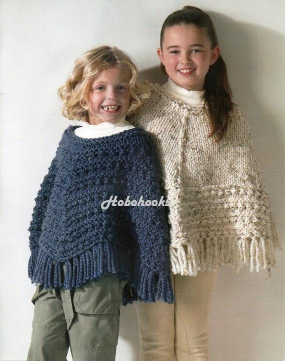 Girls Knitting Pattern Girls Ponchos Girls Chunky Ponchos