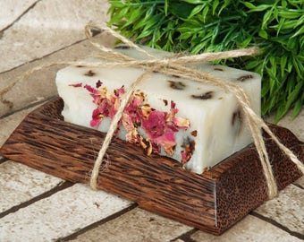 Out Of Stock!! Soap dish gift set, handmade soap, coconut wood soap dish, natural skincare, rustic wooden soap dish, any soap SOLD OUT