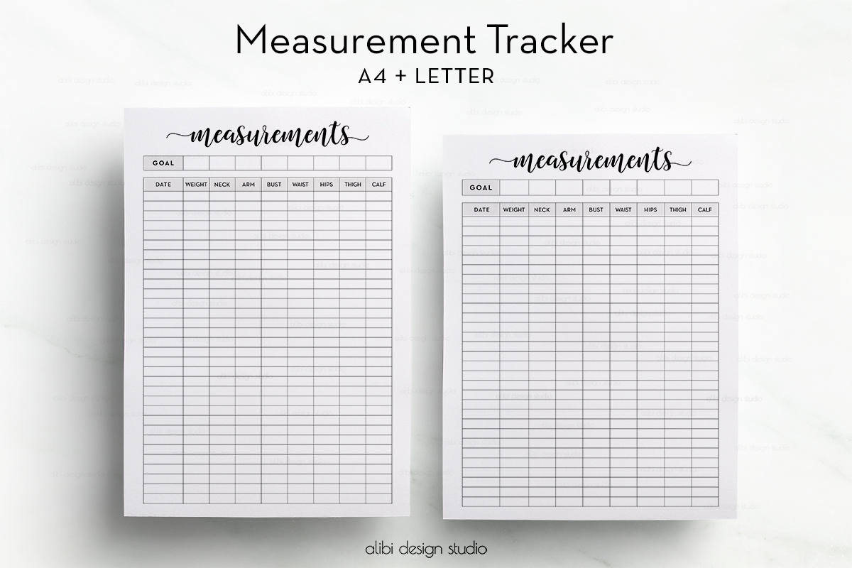 Measurement tracker printable planner a4 printable fitness zoom nvjuhfo Gallery