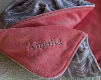 Personalized Baby Girl Blanket, Baby Girl or Boy blanket, Personalized Blanket, Baby Blanket, Monogrammed Baby Blanket, Grey Arrows, Coral