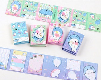 6Fold Kawaii Dolphin Sticky Note—Sticky Notes, Stick Note, Notepad, Dolphin Sticky Memo,Kawaii Stationery