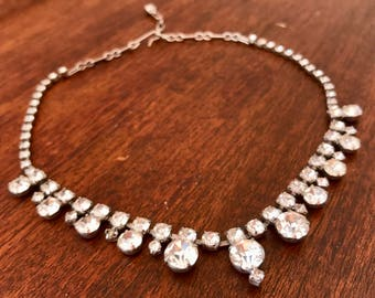 1930s Vintage Rhinestone Necklace Very Pretty Adjustable Short or Choker Length Beautifully Made