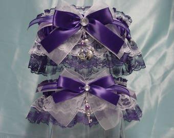Purple Disney Inspired Mickey & Minnie Mouse Wedding Garter Set