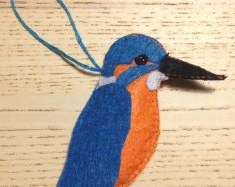 Felt Kingfisher Key Ring or Christmas Tree Decoration