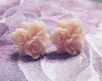Perfectly Peach Flower Bouquet Clip On Earrings, Choose a color