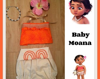 Baby Moana costume, Baby Moana bloomer and top, Baby Moana outfit,