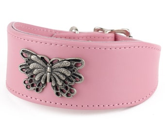 Leather Whippet Collar 'Mariposa' - 24 Colours of Leather
