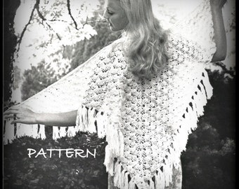 Crochet Shawl Pattern - Shell Stitch - Women - Pattern 07032208