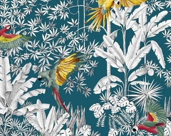 Fabric, parrots, mania, exotic, tropical, Palm trees