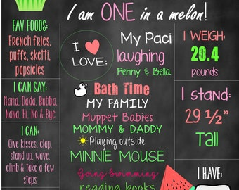 One In A Melon Printable Watermelon Birthday Chalkboard Sign