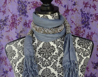 Beaded Masai Scarf, Beaded Statement Necklace, African Scarf, Gray Accessories