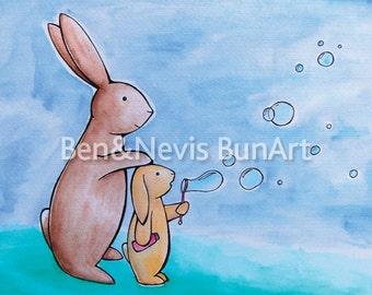 Bunny blowing bubbles watercolour print, size A5 (8.3 x 5.8 inch) bunny rabbit art, happy colourful bunnies, rabbit print