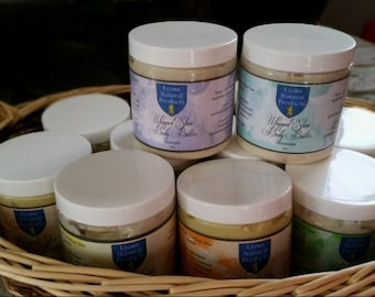 All Natural Shea Body Butter.  Contains 80% Pure, Unrefined, Shea Butter.