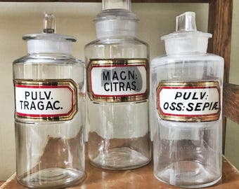 Set of 3 Antique Label Under Glass Apothecary Bottles