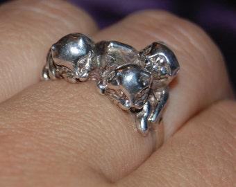 Vintage Trio of Kittens Cat Ring Sterling 925 #BKC-KRNG28