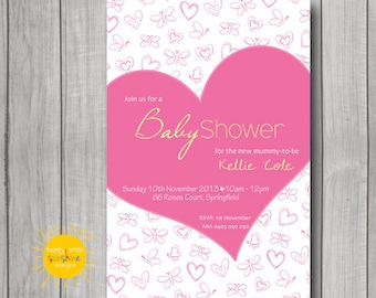 Girl Baby Shower Invitation Personalised Print your Own Love Heart Pink
