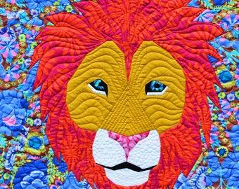 Foundation Paper Pieced Lion Safari Quilt Pattern- 24 Inch Animal Block
