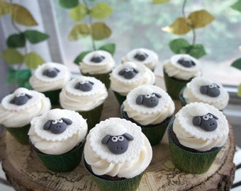 12 Sheep Fondant Toppers - Perfect for Cupcakes, Cookies and Other Edible Creations