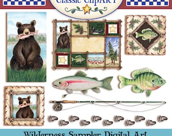 Mountain Lodge Clip art, Wilderness Clip art,Northwoods Clip art,Laurie Furnell, Fishing clip art,Scrapbooking art,Woodland Clip art,Bears