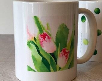 FLORAL CERAMIC MUG, 11 oz mug, flower mug, garden mug, mothers day gift, spring floral gift, 11 oz floral mug