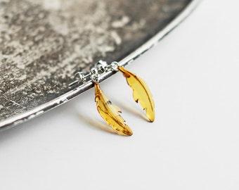 Honey amber earrings / Minimalist earrings