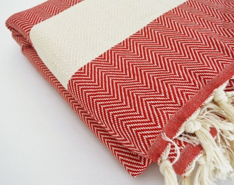 SALE 30 OFF/ Herringbone Blanket / Red  / Double Size / Beach blanket, Picnic blanket, Sofa throw, Tablecloth, Bedcover