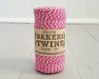 100mt roll 12ply CANDY PINK Bakers Twine 100% cotton