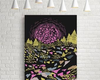Psychedelic art, psychedelic poster, psychedelic wall art, modern wall art, modern abstract, abstract art, abstract landscape, landscape art