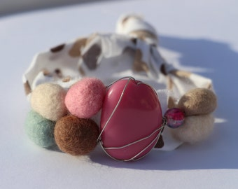 Pink, Blue, Brown and Cream Resin and Felt Pebble Mixed Media Irregular Shaped Bracelet