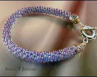 FREE SHIPPING - Beaded Kumihimo and Sterling Silver Bracelet