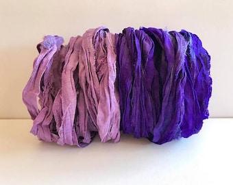 Sari Silk Ribbon-Purple & Orchid Sari Ribbon-10 Yards