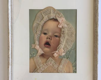 Framed Colorized Baby Photograph with Cloth Collage Clothing