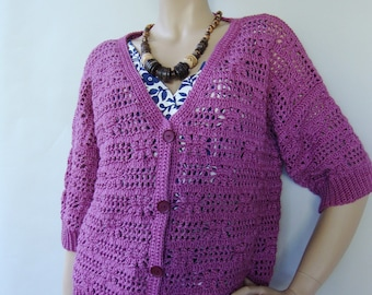 Crochet Cardigan, Merino Cardigan, Cardigan Women, Crocheted Cardigans, Women's Cardigan Sweaters, Orchid Cardigan, Available in size M