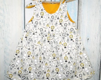 Little Pickle Knot Tie Handmade Girls Dress, Print Circus Fun